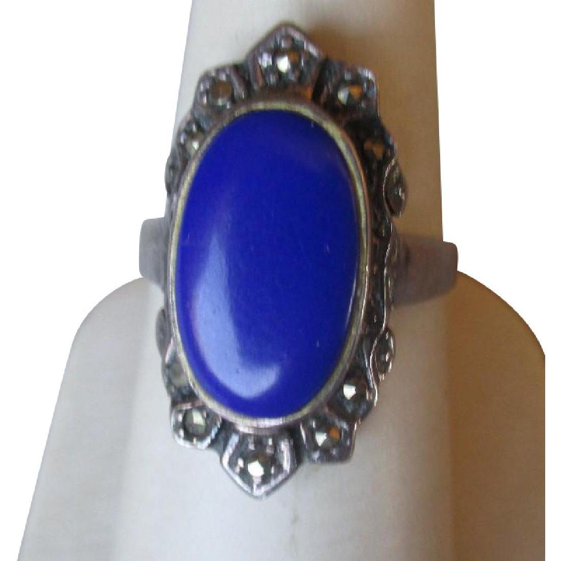 Sterling Silver and Lapis with Marcasite Ring