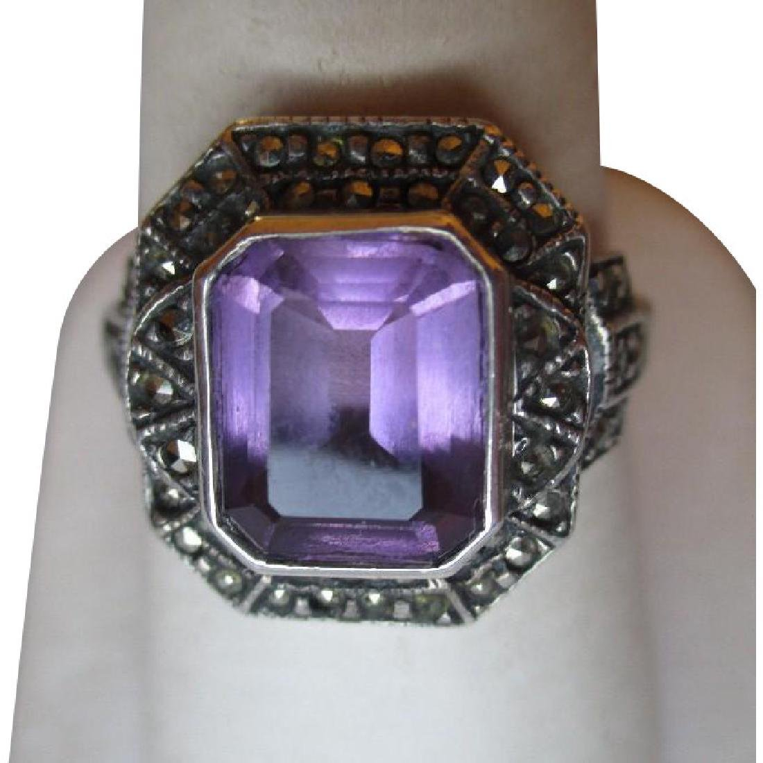 Gorgeous Sterling Silver and Amethyst with Marcasite