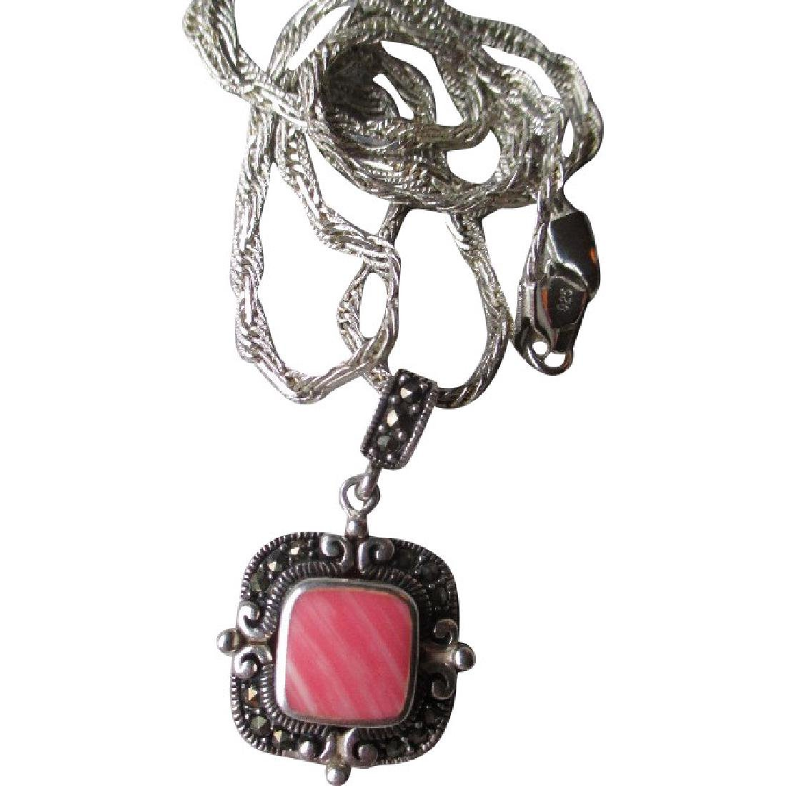 Sterling Silver and Rhodocrosite Pendant Necklace