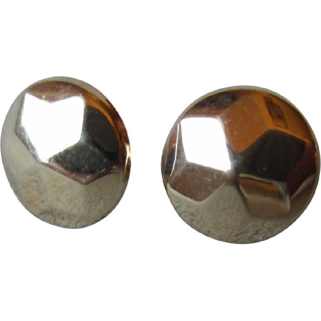 Wonderful Pair of 14k Gold Faceted Earrings