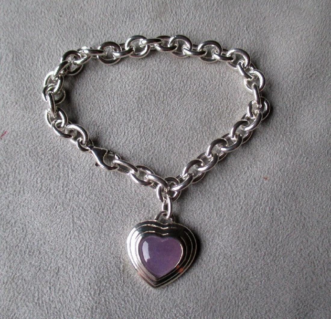 Sterling Silver and Lavender Jade Charm Style Bracelet