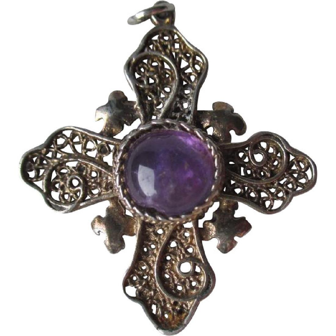 Great Sterling Silver and Amethyst Filigree Cross