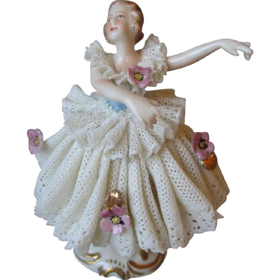 Very Cute Vintage Dresden Lace Doll Figurine