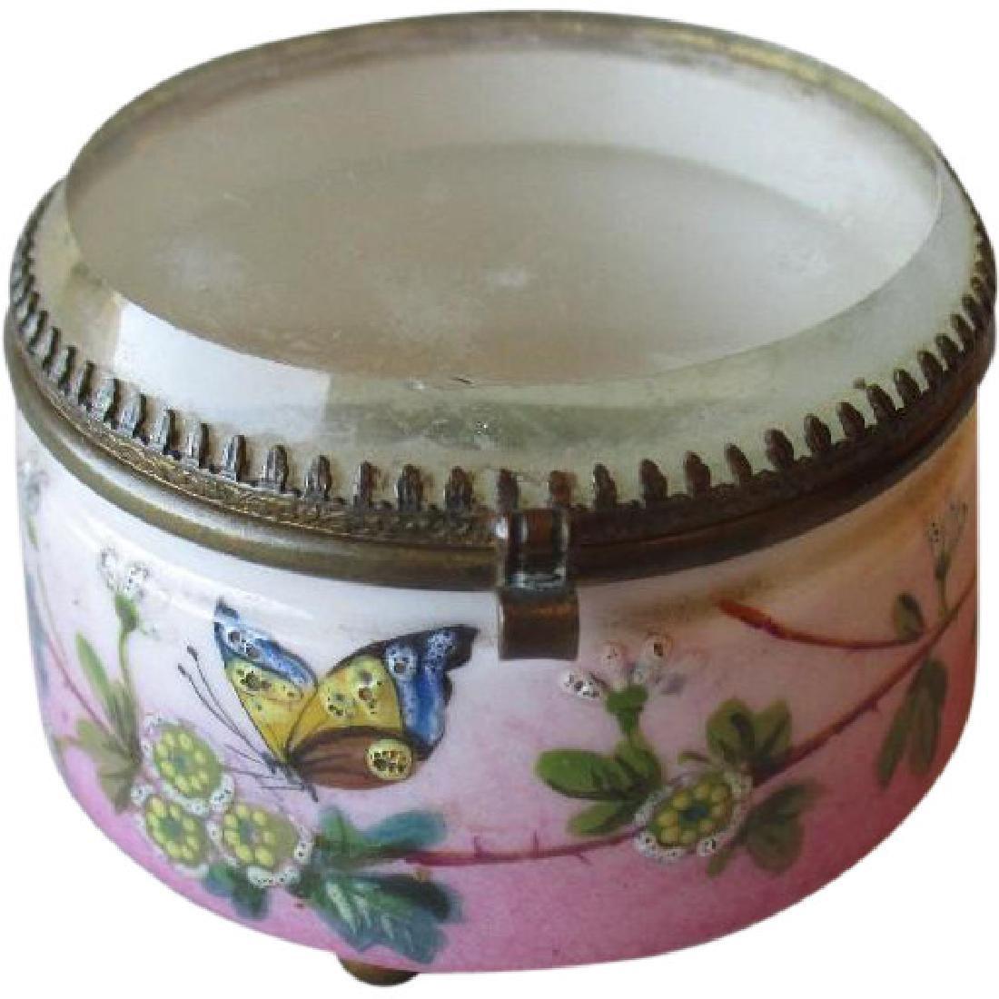 Wonderful Antique Porcelain Dresser Jar with Beveld
