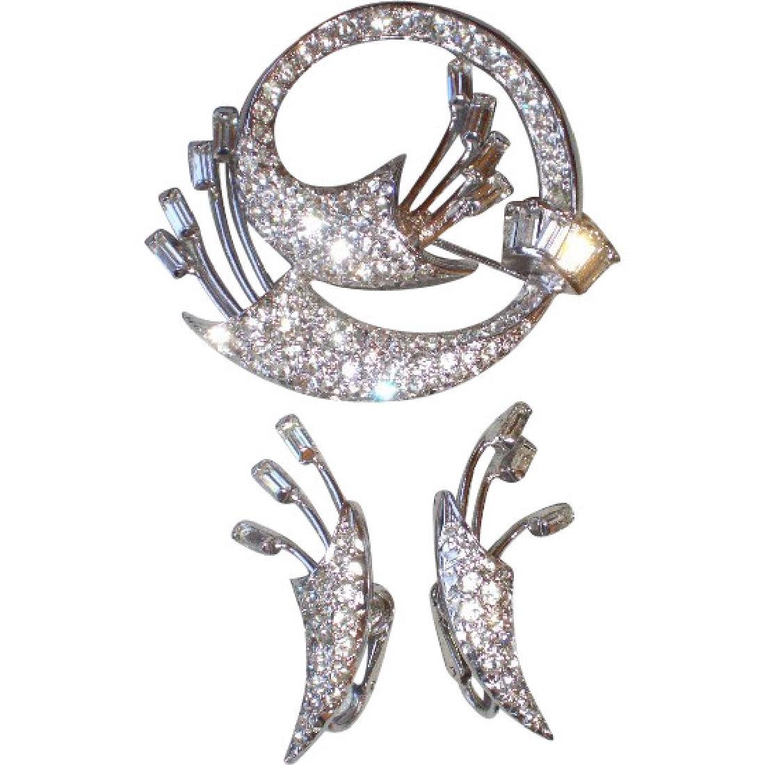 """Vintage """"Keyes"""" Rhinestone Pin or Brooch & Matching"""