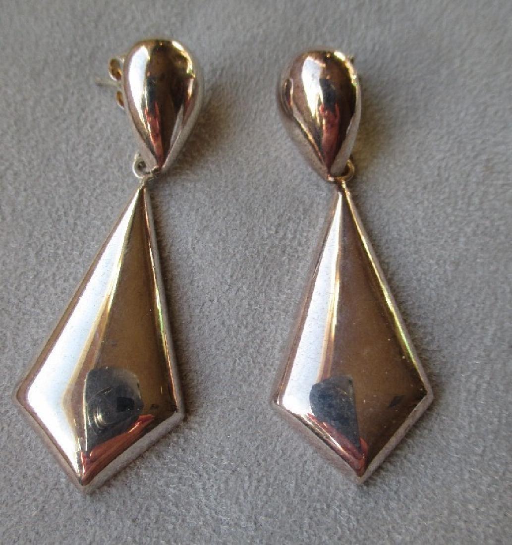 Big Sterling Silver Chevron Earrings