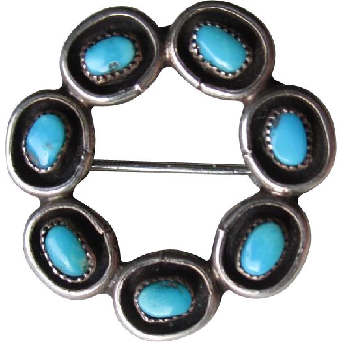 Great Vintage Turquoise Zuni Style Circle Pin