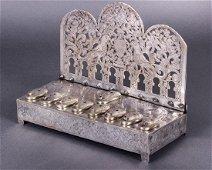 A Fine and Rare Silver Hanukkah Lamp, Tunisia,