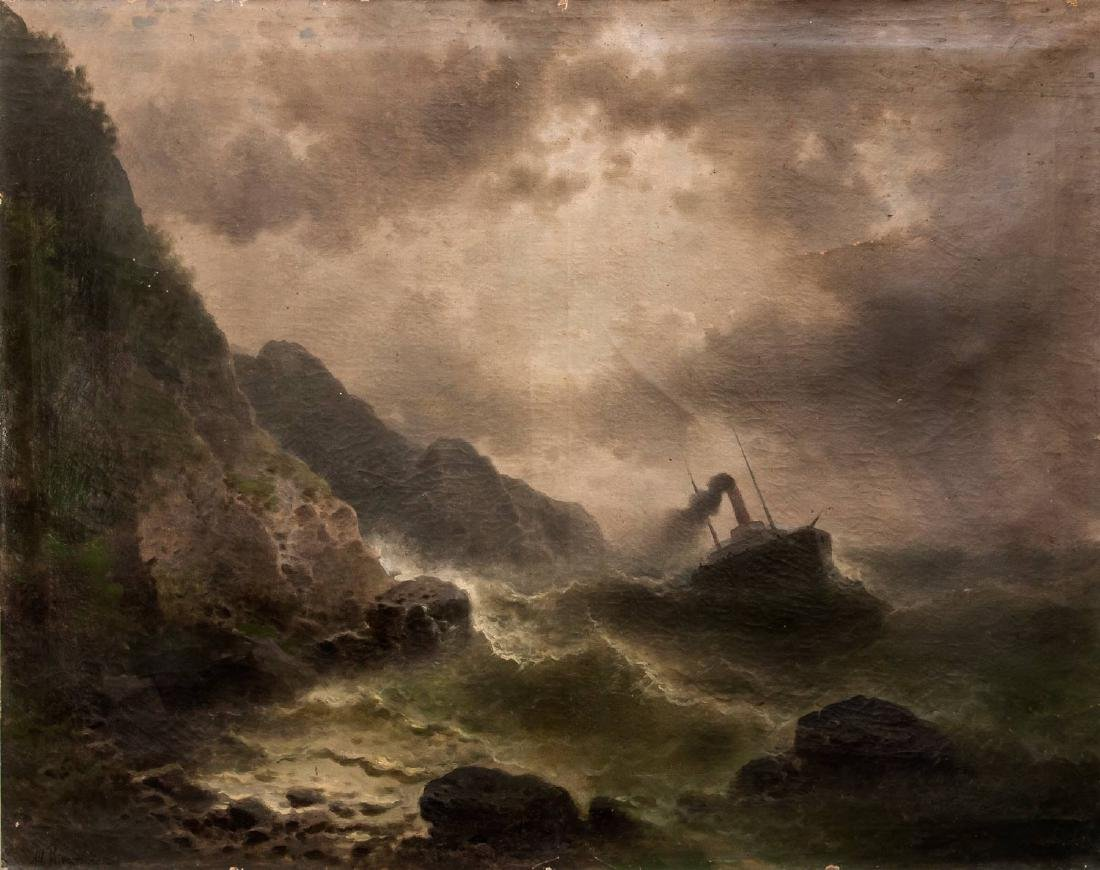 Albert Rieger (1834-1905), A Ship in Stormy Sea