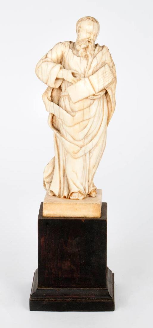 A Carved Ivory Figurine of a Scholar, Late 17th/Early