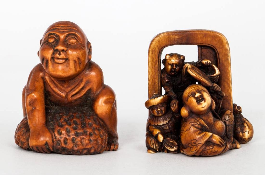 A Carved and Painted Ivory Netsuke of a Merchant and