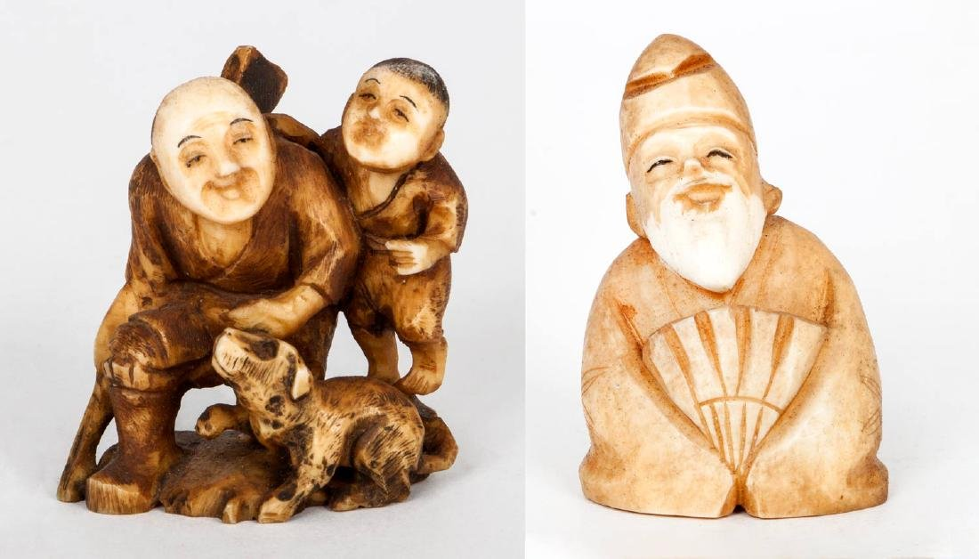 Two Carved Ivory Netsuke, Japan, 19th Century