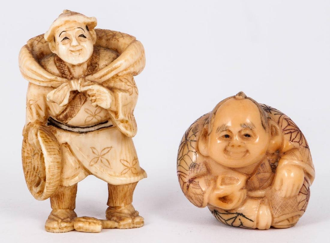 Two Carved Ivory Netsuke Figures, Japan, 19th Century