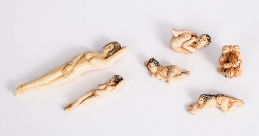 A Mixed Lot of Six Ivory and Bone Figurines