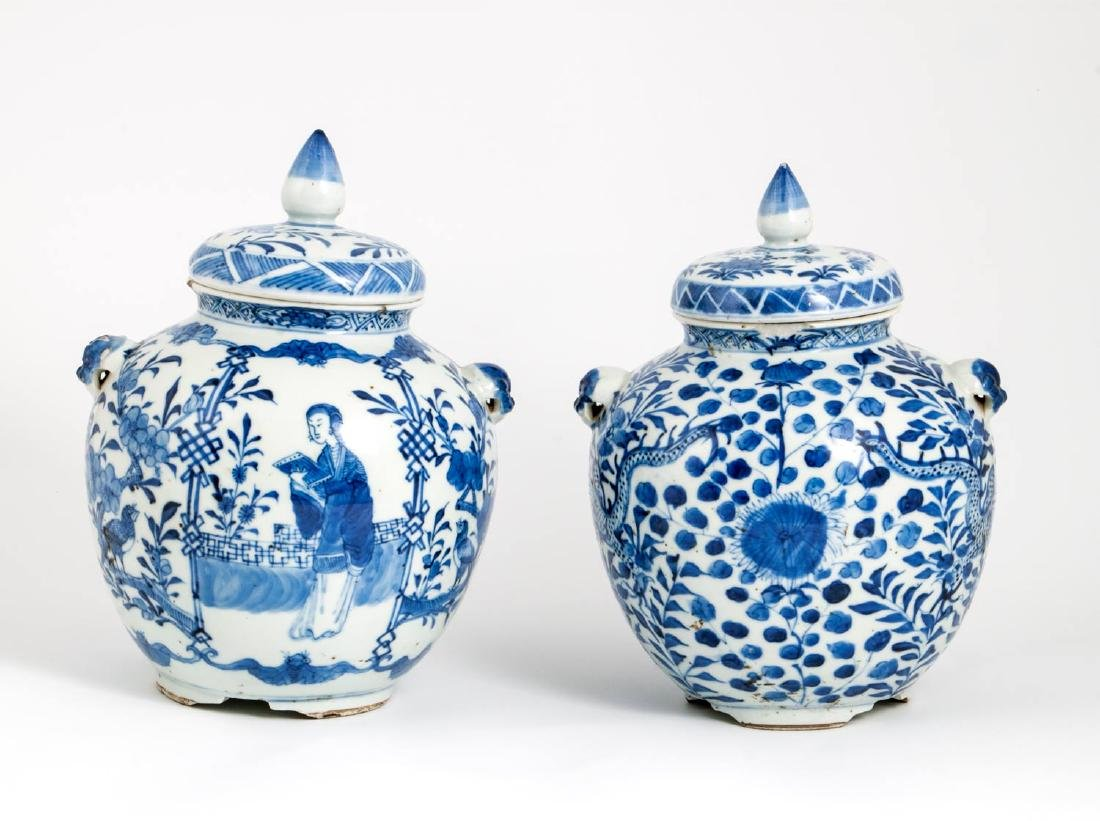 A Pair of Blue and White Porcelain Lidded Urns, China,