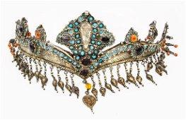 A Fine Silver Gilt and Precious Stones Headpiece or
