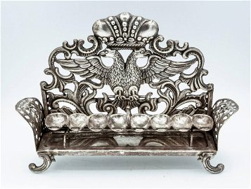 A Very Fine Silver Bench Type Hanukkah Lamp, The
