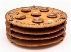 A Three Tier Wood Passover Plate, Bezalel, Early 20th