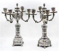 A Pair of Impressive Silver Four Light Candelabras,