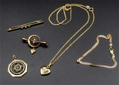 A Mixed Lot of Five Antique Gold Jewelry Items