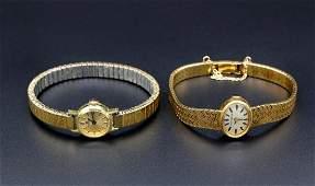 Two Gold Bucherer Womens Wrist Watches