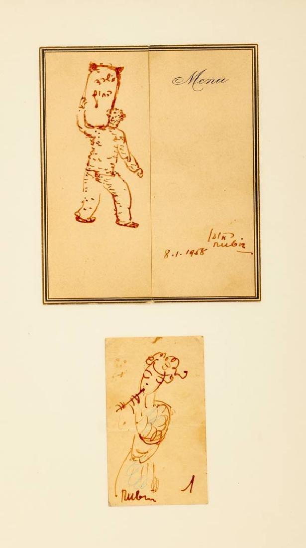 Reuven Rubin, Two Framed Ink Drawings