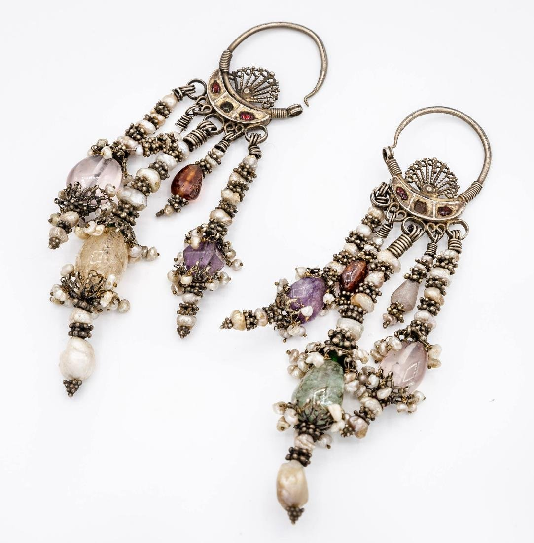 A Pair of Fine Silver and Gemstones Earrings,