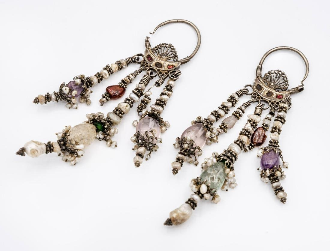 A Pair of Fine Silver and Gemstones Earrings, - 2