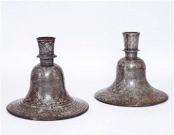 A Pair of Bidri Silver Inlaid Huqqah Bases, India, 18th