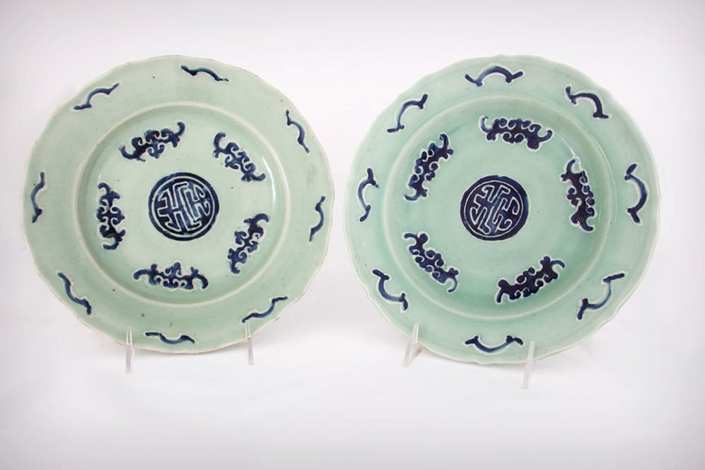 A Pair of Chinese Qing Dynasty Porcelain Shou Plates