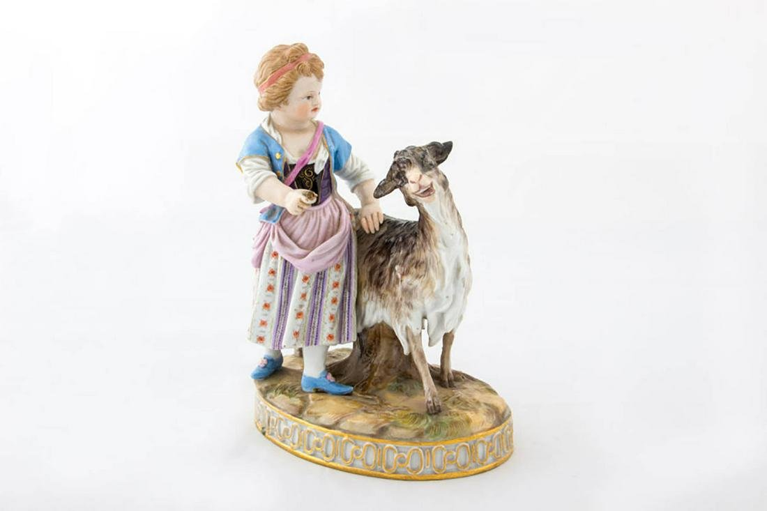 """A """"Meissen"""" Porcelain Figural Group Girl with Goat,"""