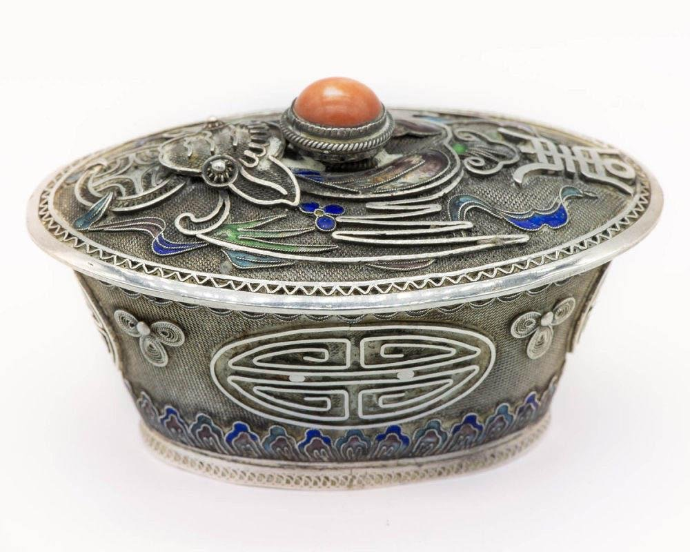 A Fine Silver Parcel Gilt and Enamel Lidded Box, China,