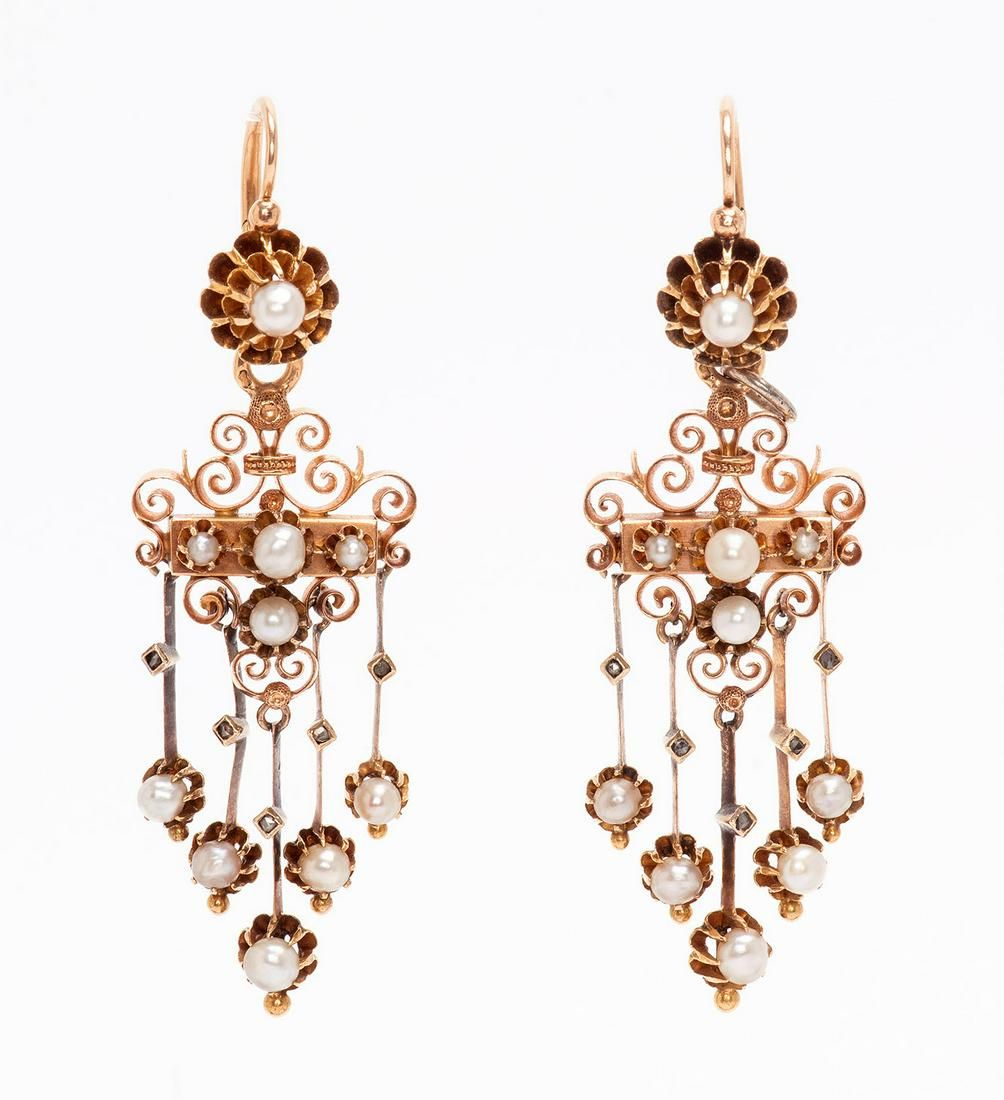 A Pair of Fine Victorian Gold Pearl and Diamond