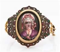 A Rare Georgian 14K Gold Diamond Emerald and Rubies
