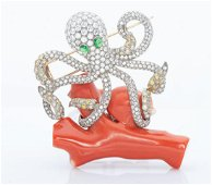 A Charming 18K White Gold Diamond Emerald and Coral