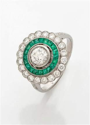 A Fine French Art-Deco Platinum Diamond and Emerald