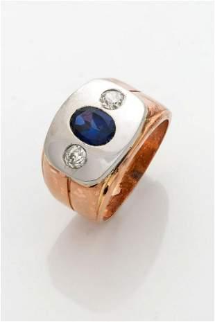 A Fine Art Deco Platinum Gold Diamond and Sapphire