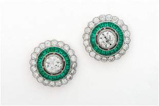 A Pair of Fine French Art-Deco Platinum Diamond and