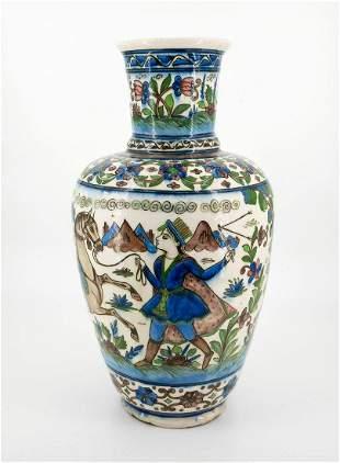 A Fine Qajar Polychrome Porcelain Vase, Persia, Late