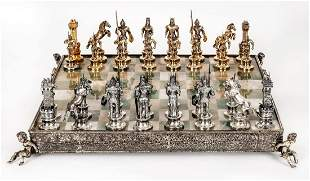 A Magnificent Silver and Silver Gilt and Marble Chess