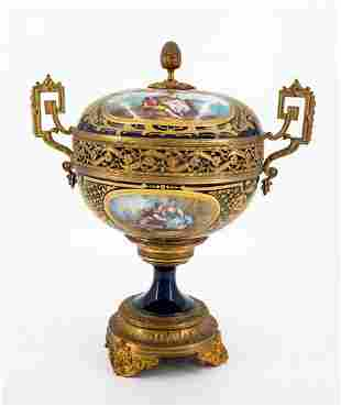 A Magnificent Sevres Porcelain Polychrome Enamel and