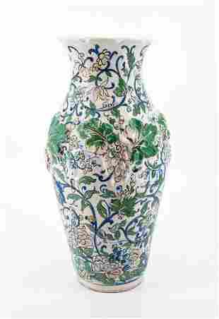 An Unusual Qajar Polychrome Pottery Vase, Prob. Persia,