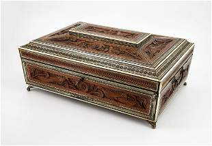 A Fine Anglo Indian Carved Sandalwood Sewing Box, 19th
