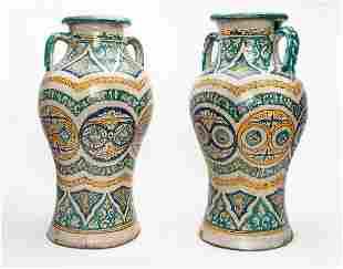A Pair of Antique Large Polychrome Porcelain Vases,