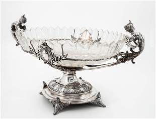 A Fine Silver and Crystal Centerpiece, Central Europe,