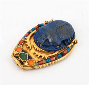 A Fine Egyptian Revival 22k Gold Scarab Pendant Brooch,