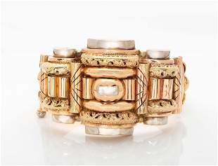 A Fine Biedermeier Three Tone 18K Gold Bracelet,