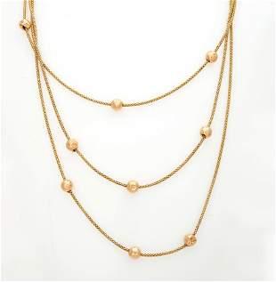 A Fine Italian 14K-18 Gold Three-Rows Necklace
