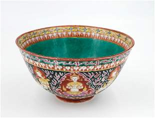 A Fine Benjarong Porcelain Famille-Noir Bowl, Chinese