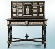 A Neapolitan Baroque Ebony and Biblical Scenes Inlaid